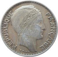 obverse of 50 Francs (1949) coin with KM# 92 from Algeria. Inscription: REPUBLIQUE FRANCAISE P. TURIN
