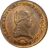 obverse of 3 Kreuzer - Franz II (1812) coin with KM# 2116 from Austria. Inscription: FRANZ KAIS · V · OEST · KÖN · Z · HU · BÖH · GAL · U · LO S