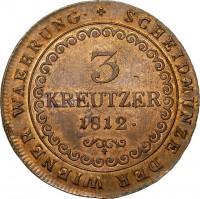 reverse of 3 Kreuzer - Franz II (1812) coin with KM# 2116 from Austria. Inscription: SCHEIDMÜNZE DER WIENER WAEHRUNG · 3 KREUTZER 1812