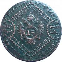 reverse of 15 Kreuzer - Franz II (1807) coin with KM# 2138 from Austria. Inscription: FUNFZEHEN KREUTZERERBLAENDISCH · 1807 · WIENER ST. BAMCO ZET · THEILUNG · MUNZ Z · 15 · 1515 15