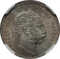 obverse of 20 Kreuzer - Franz Joseph I (1868 - 1872) coin with KM# 2212 from Austria. Inscription: FRANC · IOS · I · D · G · AVSTRIAE IMPERATOR