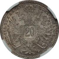 reverse of 20 Kreuzer - Franz Joseph I (1868 - 1872) coin with KM# 2212 from Austria. Inscription: HVNGAR · BOHEM · GAL · LOD · ILL · REX A · A · 1869 20