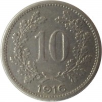 reverse of 10 Heller - Karl I - Shield with Austrian flag (1916) coin with KM# 2825 from Austria. Inscription: 10 1916