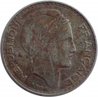 obverse of 100 Francs (1950 - 1952) coin with KM# 93 from Algeria. Inscription: REPUBLIQUE FRANCAISE P.TURIN