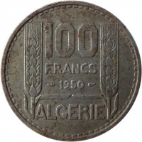 reverse of 100 Francs (1950 - 1952) coin with KM# 93 from Algeria. Inscription: 100 FRANCS 1950 ALGERIE