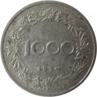 reverse of 1000 Kronen (1924) coin with KM# 2834 from Austria. Inscription: 1000 1924
