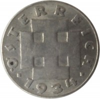 obverse of 5 Groschen (1931 - 1938) coin with KM# 2846 from Austria. Inscription: ÖSTERREICH · 1934 ·