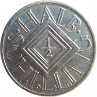 reverse of 1/2 Schilling (1924 - 1926) coin with KM# 2839 from Austria. Inscription: · HALB · 1 - 2 SCHILLING 1926