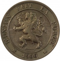 obverse of 5 Centimes - Leopold II - French text (1894 - 1901) coin with KM# 40 from Belgium. Inscription: L'UNION FAIT LA FORCE * 1900 *