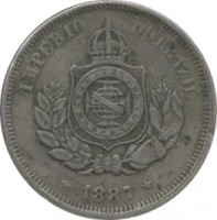 obverse of 50 Réis - Pedro II (1886 - 1888) coin with KM# 482 from Brazil. Inscription: IMPERIO DO BRAZIL 1887