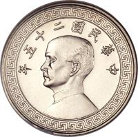 obverse of 5 Fen - Lin Sen (1936 - 1939) coin with Y# 348 from China.