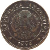 obverse of 1 Centavo (1882 - 1896) coin with KM# 32 from Argentina. Inscription: * REPUBLICA ARGENTINA * 1894