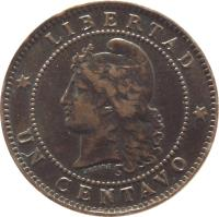 reverse of 1 Centavo (1882 - 1896) coin with KM# 32 from Argentina. Inscription: * LIBERTAD * UN CENTAVO