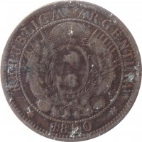 obverse of 2 Centavos (1882 - 1896) coin with KM# 33 from Argentina. Inscription: * REPUBLICA ARGENTINA * 1890