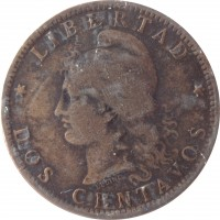 reverse of 2 Centavos (1882 - 1896) coin with KM# 33 from Argentina. Inscription: LIBERTAD OUDINÉ * DOS CENTAVOS *
