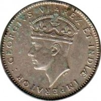 obverse of 50 Cents - George VI (1937 - 1944) coin with KM# 27 from British East Africa. Inscription: GEORGIVS VI REX ET INDIAE IMPERATOR