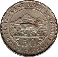 reverse of 50 Cents - George VI (1937 - 1944) coin with KM# 27 from British East Africa. Inscription: -EAST AFRICA- 50 FIFTY CENTS 1937 HALF SHILLING