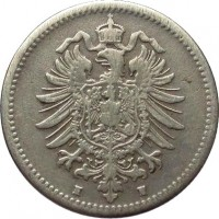 obverse of 50 Pfennig - Wilhelm I - Small eagle (1875 - 1877) coin with KM# 6 from Germany. Inscription: H H