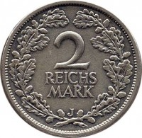 reverse of 2 Reichsmark (1925 - 1931) coin with KM# 45 from Germany. Inscription: 2 REICHS MARK J