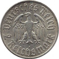 obverse of 2 Reichsmark - Martin Luther (1933) coin with KM# 79 from Germany. Inscription: Deutsches Reich 2 Reichsmark A