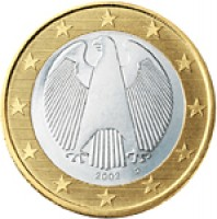 obverse of 1 Euro - 2'nd Map (2007 - 2015) coin with KM# 257 from Germany. Inscription: 2007 A