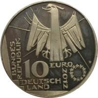 obverse of 10 Euro - Deutsche Nationalbibliothek (2012) coin with KM# 311 from Germany. Inscription: BUNDES REPUBLIK 10 EURO D 2012 DEUTSCH LAND