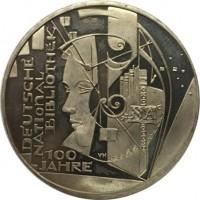 reverse of 10 Euro - Deutsche Nationalbibliothek (2012) coin with KM# 311 from Germany. Inscription: DEUTSCHE NATIONAL BIBLIOTHEK 100 JAHRE