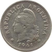 obverse of 10 Centavos (1896 - 1942) coin with KM# 35 from Argentina. Inscription: * REPÚBLICA ARGENTINA * 1941