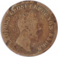 obverse of 1 Kreuzer - Leopold (1845 - 1852) coin with KM# 218 from German States. Inscription: LEOPOLD GROSHERZOG VON BADEN