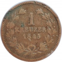 reverse of 1 Kreuzer - Leopold (1845 - 1852) coin with KM# 218 from German States. Inscription: 1 KREUZER 1845