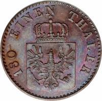 obverse of 2 Pfenninge - Friedrich Wilhelm IV (1846 - 1860) coin with KM# 452 from German States. Inscription: 180 EINEN THALER