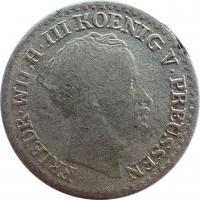 obverse of 1 Silber Groschen - Friedrich Wilhelm III (1821 - 1840) coin with KM# 410 from German States. Inscription: FRIEDR . WILH . III KOENIG V . PREUSSEN