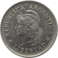 obverse of 1 Peso (1957 - 1962) coin with KM# 57 from Argentina. Inscription: REPUBLICA ARGENTINA * LIBERTAD *