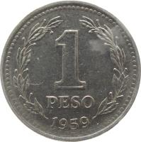reverse of 1 Peso (1957 - 1962) coin with KM# 57 from Argentina. Inscription: 1 PESO 1959