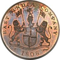 obverse of 20 Cash (1803 - 1808) coin with KM# 321 from India. Inscription: EAST INDIA COMPANY AUSPICIO REGIS & SENATUS ANGLIA 1808