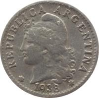 obverse of 5 Centavos (1896 - 1942) coin with KM# 34 from Argentina. Inscription: * REPUBLICA ARGENTINA * 1938