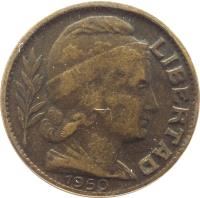 obverse of 10 Centavos (1942 - 1950) coin with KM# 41 from Argentina. Inscription: LIBERTAD 1950