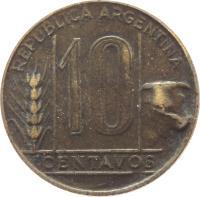 reverse of 10 Centavos (1942 - 1950) coin with KM# 41 from Argentina. Inscription: REPÚBLICA ARGENTINA 10 CENTAVOS