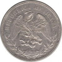 obverse of 1 Peso (1898 - 1909) coin with KM# 409 from Mexico. Inscription: REPUBLICA MEXICANA