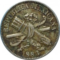obverse of 1 Centavo (1882 - 1883) coin with KM# 392 from Mexico. Inscription: REPUBLICA MEXICANA 1883