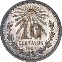 reverse of 10 Centavos (1905 - 1914) coin with KM# 428 from Mexico. Inscription: 10 CENTAVOS 1907