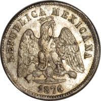 obverse of 10 Centavos (1869 - 1897) coin with KM# 403 from Mexico. Inscription: REPUBLICA MEXICANA 1876