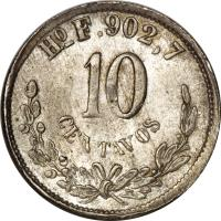 reverse of 10 Centavos (1869 - 1897) coin with KM# 403 from Mexico. Inscription: Ho F.902,7 10 CENTAVOS