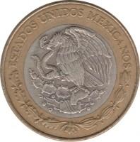 obverse of 20 Nuevos Pesos (1993 - 1995) coin with KM# 561 from Mexico. Inscription: ESTADOS UNIDOS MEXICANOS