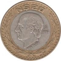 reverse of 20 Nuevos Pesos (1993 - 1995) coin with KM# 561 from Mexico. Inscription: N$20 1993 HIDALGO