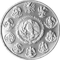 obverse of 1 Onza - Libertad Silver Bullion (2000 - 2015) coin with KM# 639 from Mexico. Inscription: ESTADOS UNIDOS MEXICANOS
