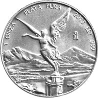 reverse of 1 Onza - Libertad Silver Bullion (2000 - 2015) coin with KM# 639 from Mexico. Inscription: 1 ONZA PLATA PURA 2002 LEY .999 oM