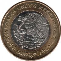 obverse of 20 Pesos - 100th Anniversary of the Mexican Army (2013) coin with KM# 969 from Mexico. Inscription: ESTADOS UNIDOS MEXICANOS