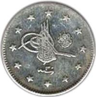 obverse of 2 Kuruş - Abdul Hamid II - el-Ghazi right of Toughra (1882 - 1908) coin with KM# 736 from Ottoman Empire.