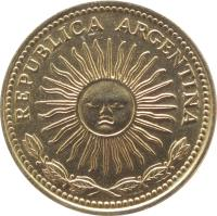 obverse of 10 Pesos (1976 - 1978) coin with KM# 72 from Argentina. Inscription: REPUBLICA ARGENTINA